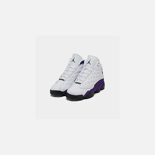Three Quarter view of Big Kids' Air Jordan Retro 13 Basketball Shoes in White/Black/Court Purple