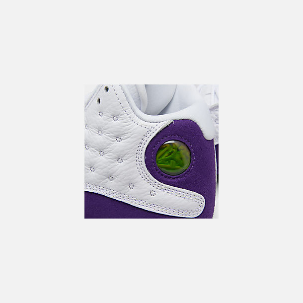 Front view of Big Kids' Air Jordan Retro 13 Basketball Shoes in White/Black/Court Purple