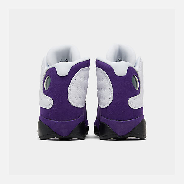 Left view of Big Kids' Air Jordan Retro 13 Basketball Shoes in White/Black/Court Purple