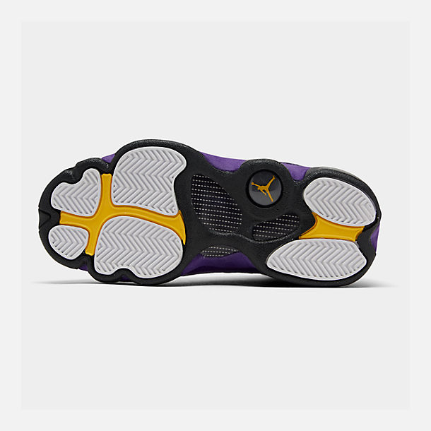 Bottom view of Big Kids' Air Jordan Retro 13 Basketball Shoes in White/Black/Court Purple