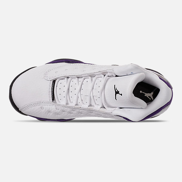Top view of Big Kids' Air Jordan Retro 13 Basketball Shoes in White/Black/Court Purple