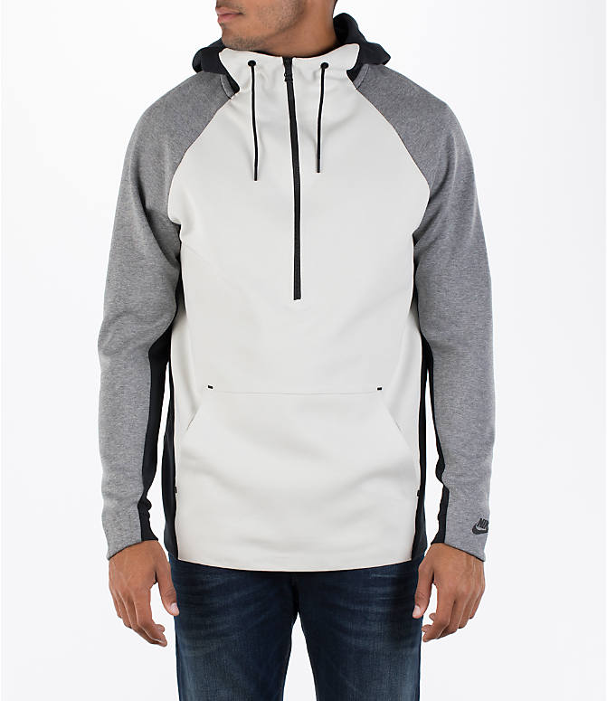 Front view of Men's Nike Sportswear Tech Fleece Color-Block Hoodie in Light Bone