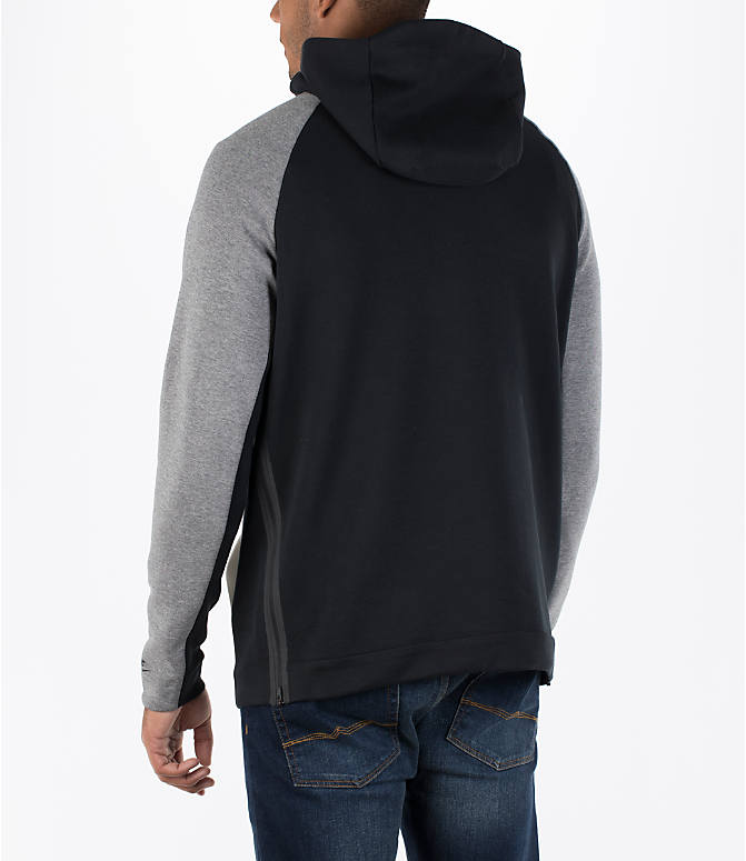 Back Left view of Men's Nike Sportswear Tech Fleece Color-Block Hoodie in Light Bone