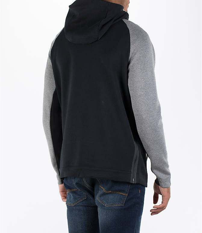 Back Right view of Men's Nike Sportswear Tech Fleece Color-Block Hoodie in Light Bone