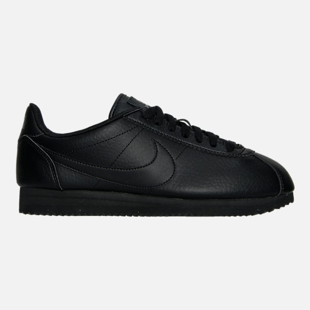 Right view of Women's Nike Classic Cortez Leather Casual Shoes in Black/Black/Black