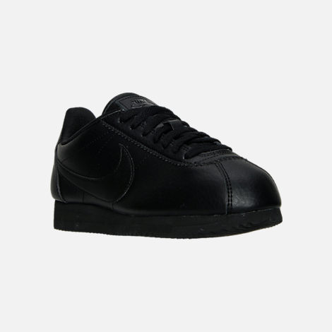 Three Quarter view of Women's Nike Classic Cortez Leather Casual Shoes in Black/Black/Black