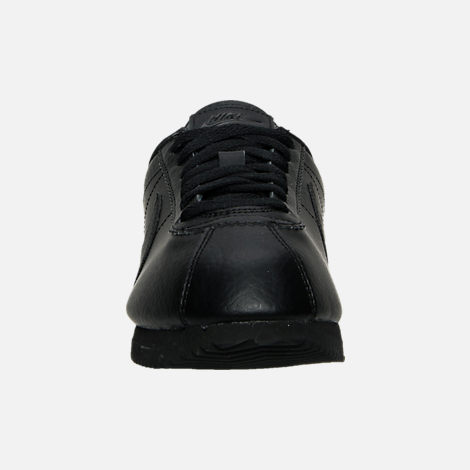 Front view of Women's Nike Classic Cortez Leather Casual Shoes in Black/Black/Black