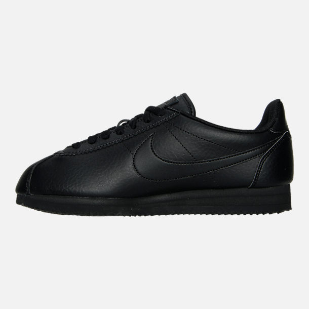 Left view of Women's Nike Classic Cortez Leather Casual Shoes in Black/Black/Black