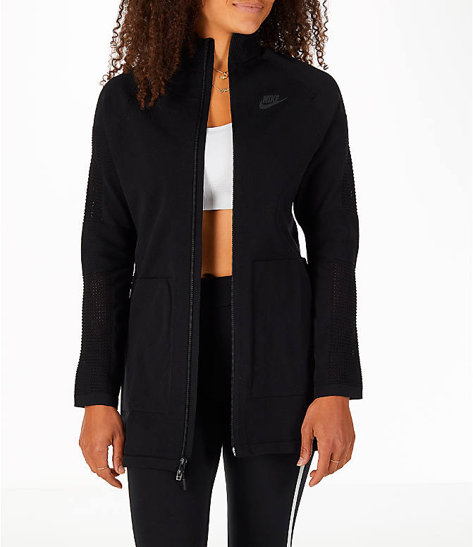 Front view of Women's Nike Sportswear Tech Knit Jacket in Black/Black
