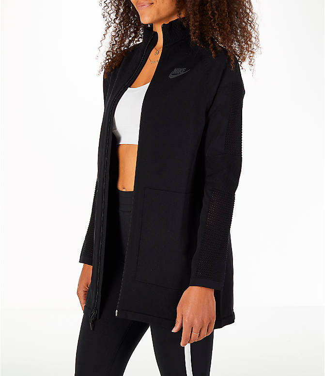 Front Three Quarter view of Women's Nike Sportswear Tech Knit Jacket in Black/Black