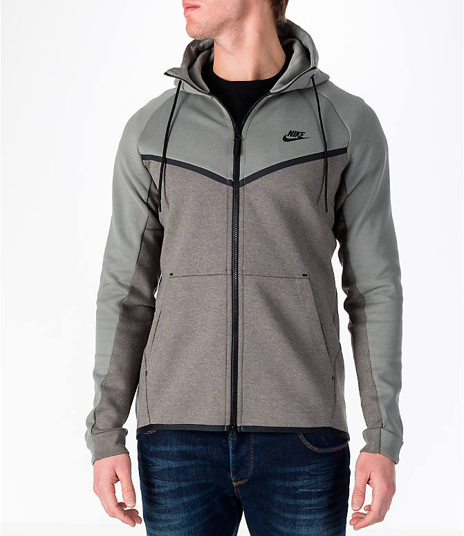 Front view of Men's Nike Sportswear Tech Fleece Full-Zip Windrunner Jacket in Stucco/Black