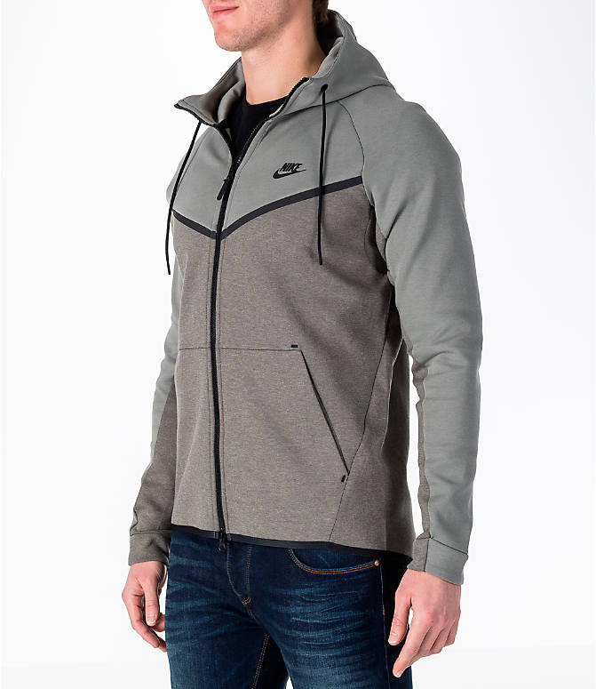 Front Three Quarter view of Men's Nike Sportswear Tech Fleece Full-Zip Windrunner Jacket in Stucco/Black