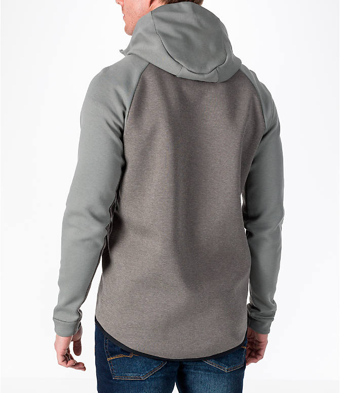 Back Left view of Men's Nike Sportswear Tech Fleece Full-Zip Windrunner Jacket in Stucco/Black