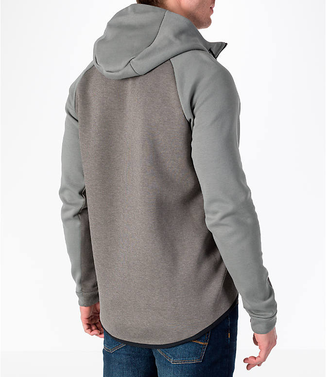 Back Right view of Men's Nike Sportswear Tech Fleece Full-Zip Windrunner Jacket in Stucco/Black