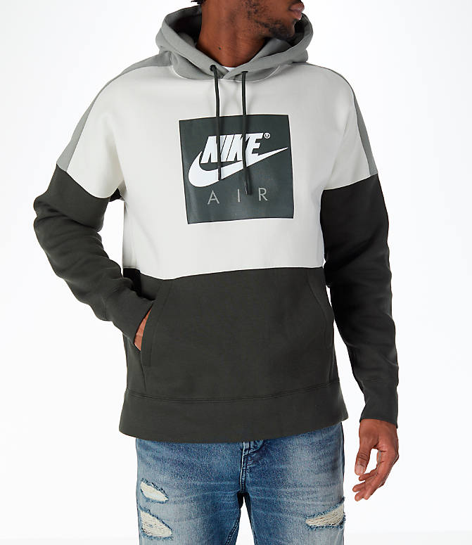 Front view of Men's Nike Sportswear Air Hoodie in Sequoia/Stucco
