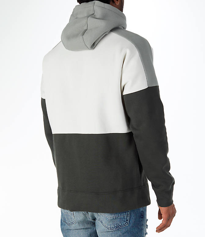 Back Right view of Men's Nike Sportswear Air Hoodie in Sequoia/Stucco