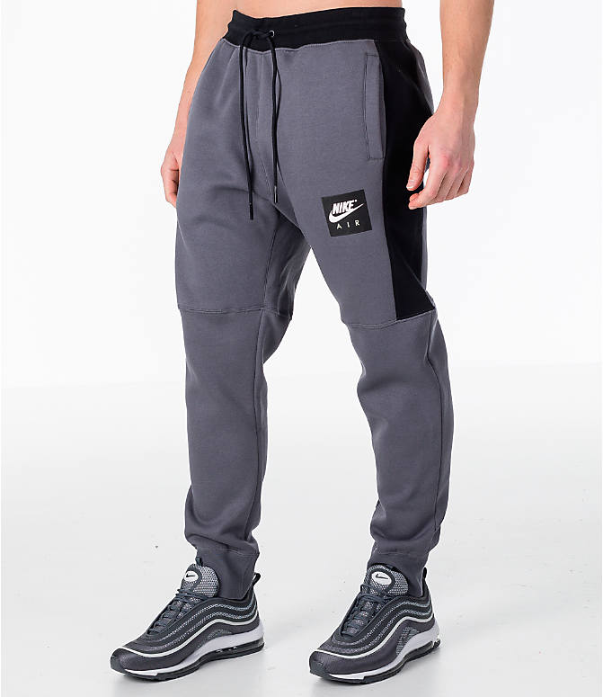 Front Three Quarter view of Men's Nike Sportswear Air Fleece Jogger Pants in Dark Grey