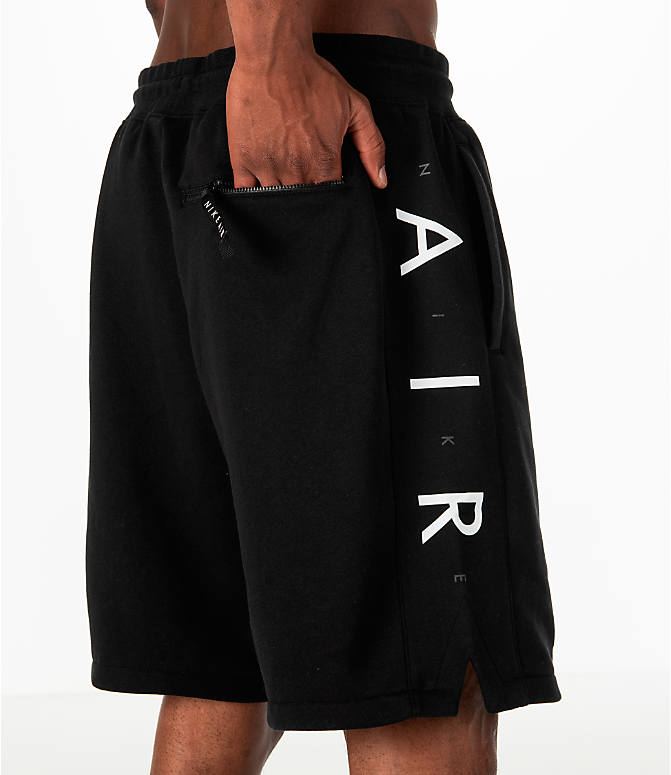 Detail 2 view of Men's Nike Sportswear Air Fleece Shorts in Black/White