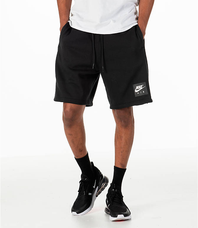 Front view of Men's Nike Sportswear Air Fleece Shorts in Black/White