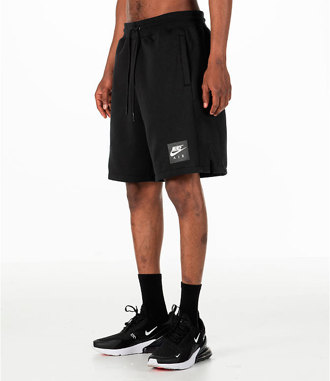 Front Three Quarter view of Men's Nike Sportswear Air Fleece Shorts in Black/White