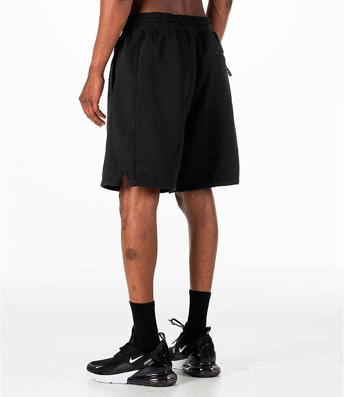 Back Left view of Men's Nike Sportswear Air Fleece Shorts in Black/White
