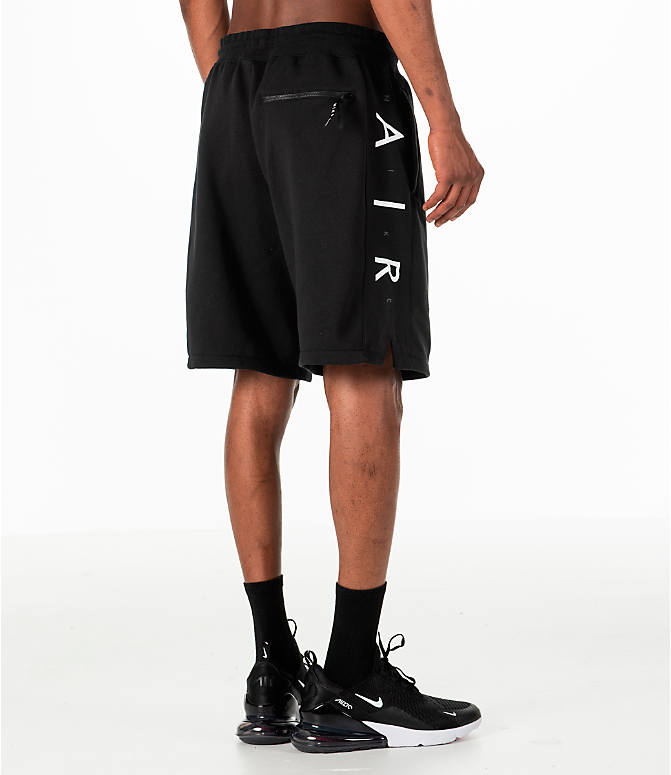Back Right view of Men's Nike Sportswear Air Fleece Shorts in Black/White