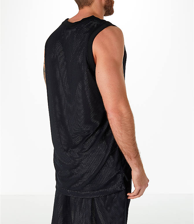 Back Right view of Men's Nike Sportswear Air Knit Tank in Black/White