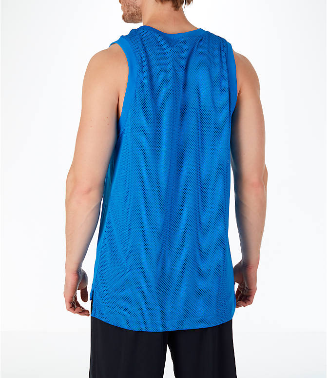 Back Left view of Men's Nike Sportswear Air Knit Tank in Blue Nebula/Green
