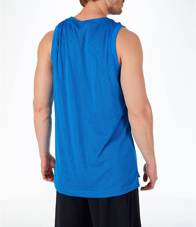 Back Right view of Men's Nike Sportswear Air Knit Tank in Blue Nebula/Green