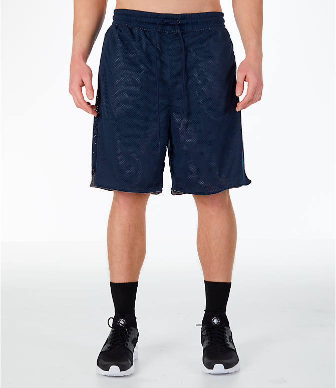Front Three Quarter view of Men's Nike Sportswear Air Knit Shorts in Obsidian/Gunsmoke