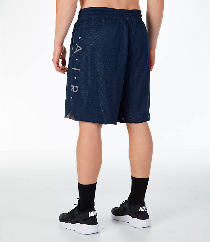 Back Left view of Men's Nike Sportswear Air Knit Shorts in Obsidian/Gunsmoke