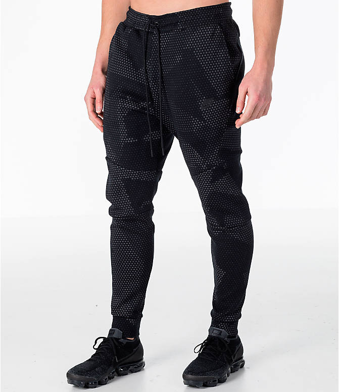 Front Three Quarter view of Men's Nike Sportswear Tech Fleece GX Jogger Pants in Black