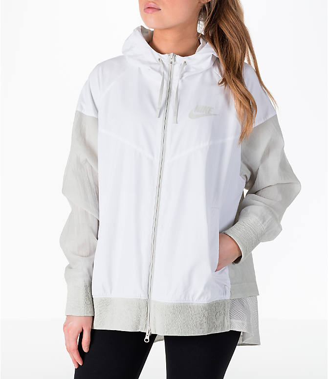 Front Three Quarter view of Women's Nike Sportswear Novelty Windrunner Jacket in White/Light Bone