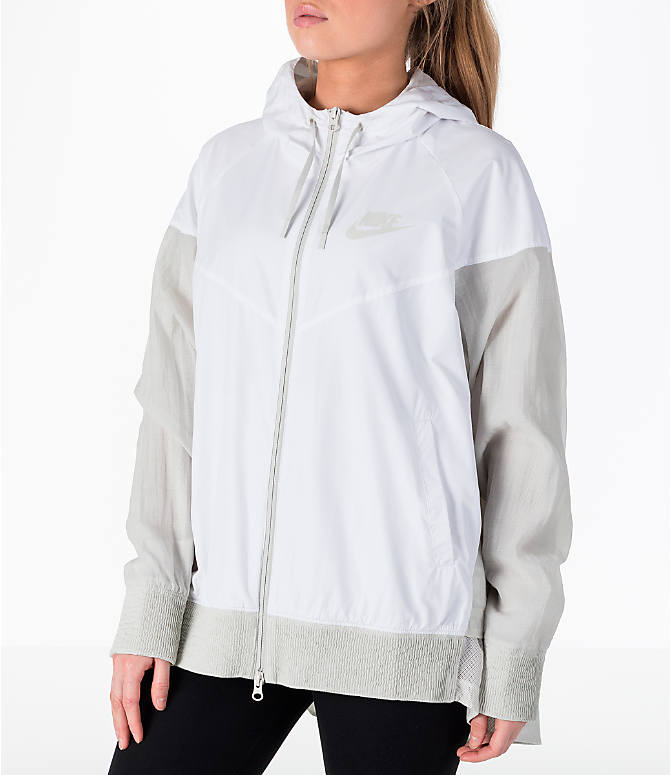 Back Left view of Women's Nike Sportswear Novelty Windrunner Jacket in White/Light Bone