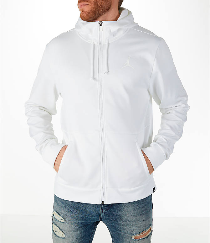 Front view of Men's Air Jordan Therma Rise Full-Zip Basketball Hoodie in White