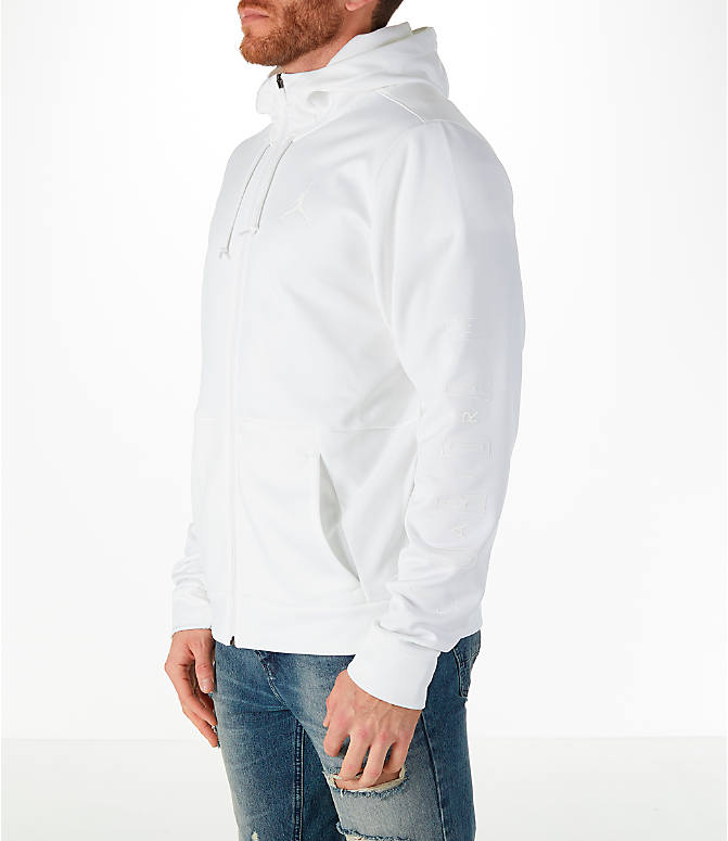 Front Three Quarter view of Men's Air Jordan Therma Rise Full-Zip Basketball Hoodie in White