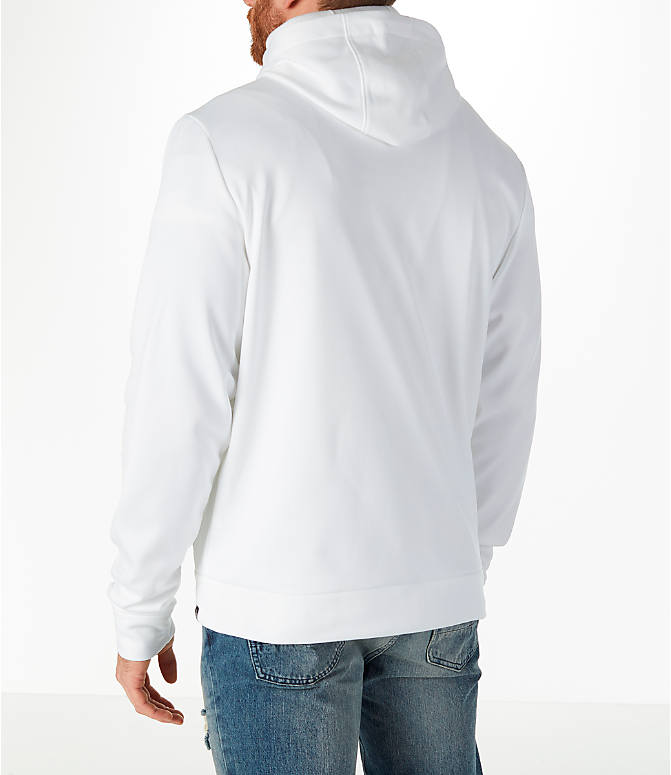 Back Left view of Men's Air Jordan Therma Rise Full-Zip Basketball Hoodie in White