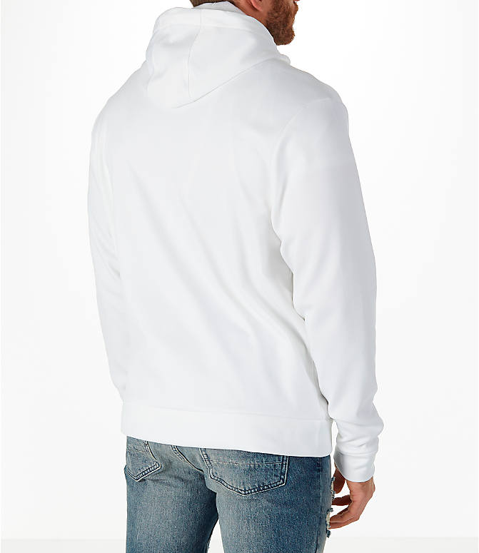 Back Right view of Men's Air Jordan Therma Rise Full-Zip Basketball Hoodie in White
