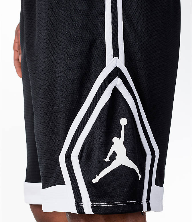 Detail 1 view of Men's Air Jordan Rise Diamond Basketball Shorts in Black/White