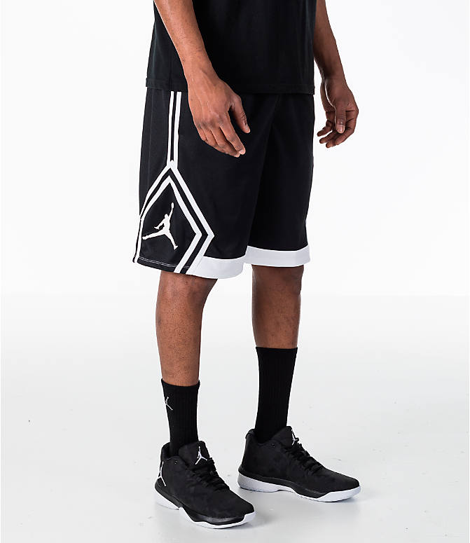 Front view of Men's Air Jordan Rise Diamond Basketball Shorts in Black/White