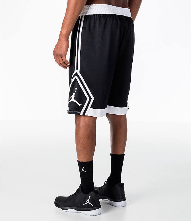 Back Right view of Men's Air Jordan Rise Diamond Basketball Shorts in Black/White