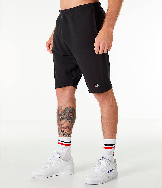 Front Three Quarter view of Men's Champion Life Fleece Shorts in Black