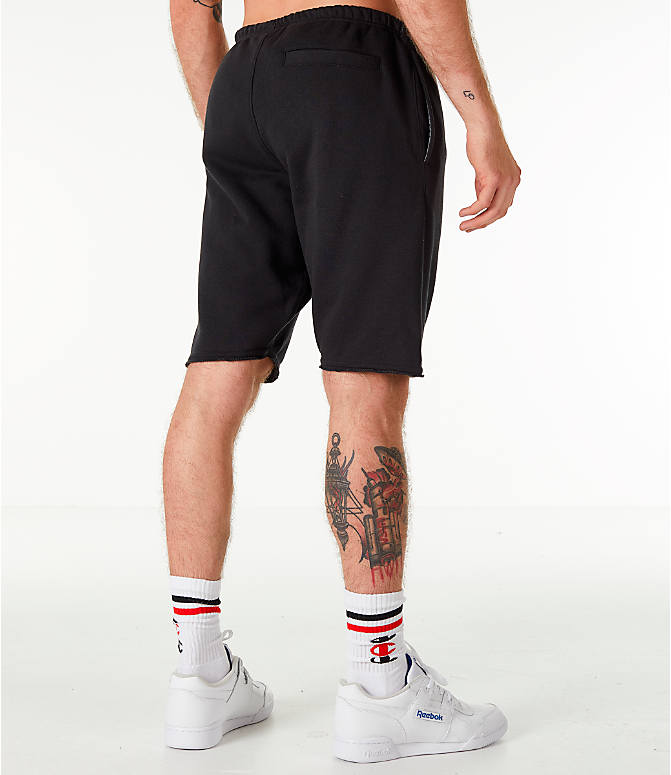 Back Right view of Men's Champion Life Fleece Shorts in Black