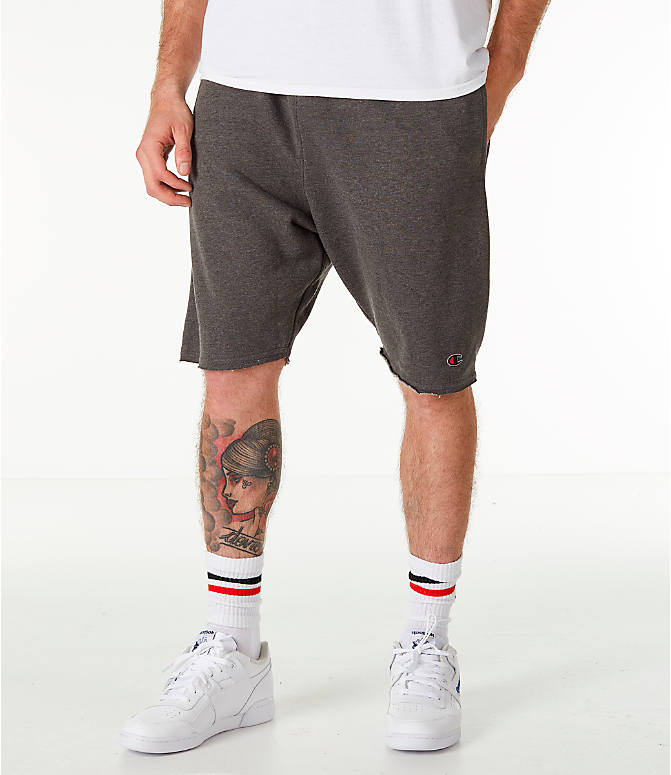 Front view of Men's Champion Life Fleece Shorts in Grey