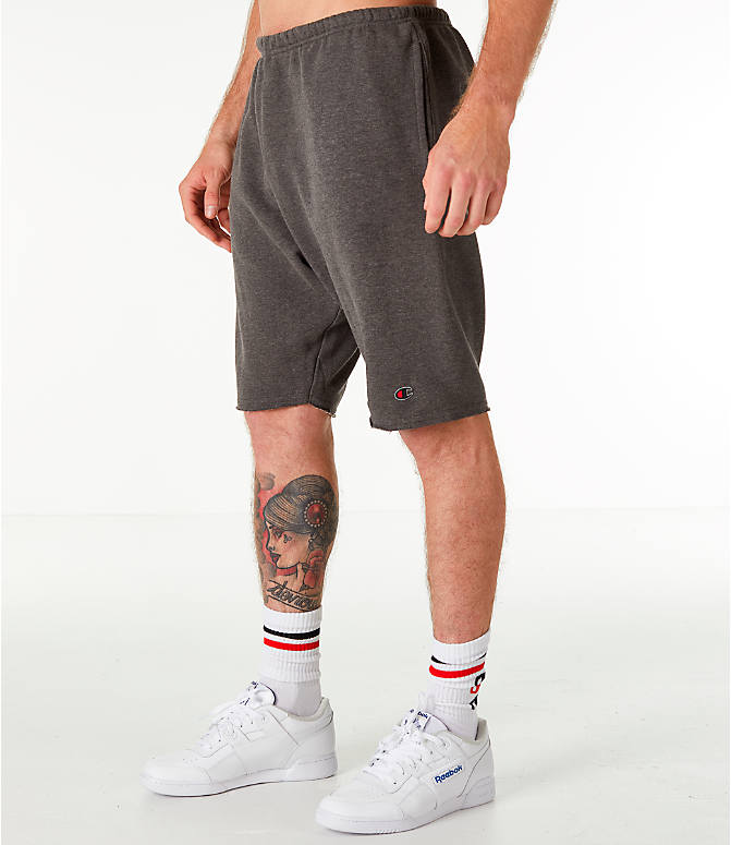 Front Three Quarter view of Men's Champion Life Fleece Shorts in Grey
