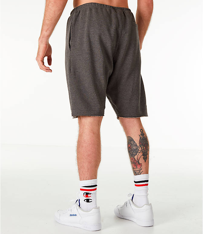Back Left view of Men's Champion Life Fleece Shorts in Grey