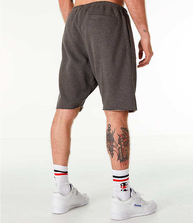 Back Right view of Men's Champion Life Fleece Shorts in Grey