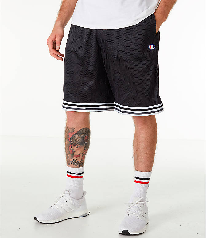 Front view of Men's Champion Life Basketball Shorts in Black/White