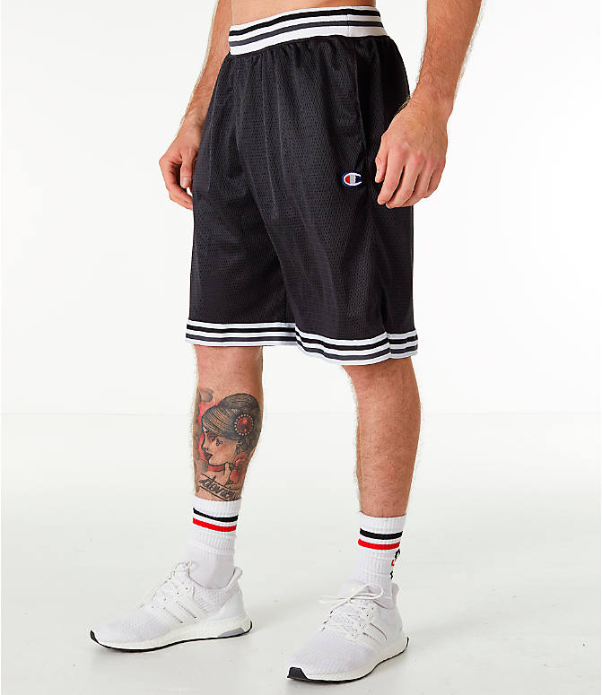 Front Three Quarter view of Men's Champion Life Basketball Shorts in Black/White