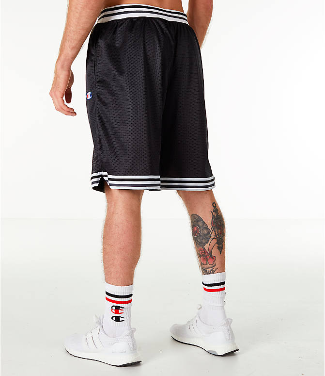Back Left view of Men's Champion Life Basketball Shorts in Black/White